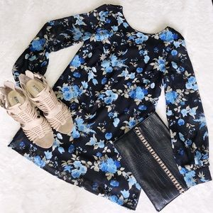 Black and blue floral shift dress